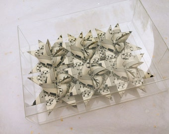 German Paper Origami Star Ornament Sculpture (3 inch, Vintage Music)