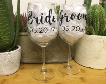 Bride & Groom Custom Wedding Date Wine Glass Set