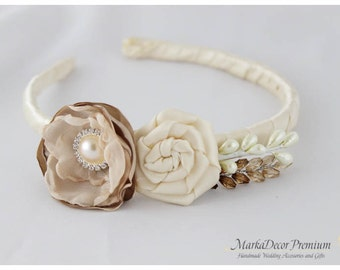 Bridal Flowergirl Headband with Handmade Flowers, my Stamen's Accent and Cluster in Champagne and Ivory