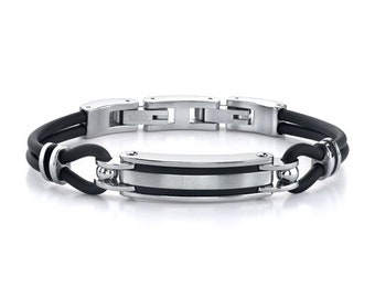 Distinctive Style: Stainless Steel ID-style and Rubber Cord Bracelet