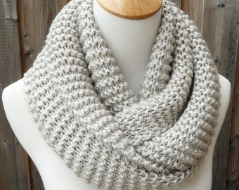 Natural Infinity Scarf - Off White and Gray Infinity Scarf - Chunky Knit Scarf - Ready to Ship