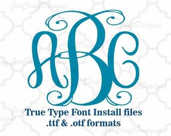 Classy Vine Interlocking Monogram Font in True Type format .TTF & .OTF Installable Font for Cricut, Design Space, Microsoft Word and more