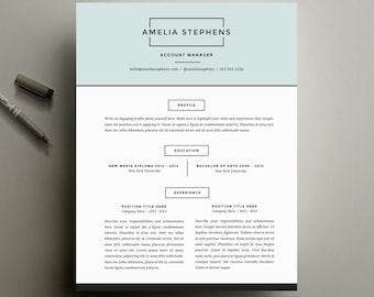 Modern Resume Template and Cover Letter Template for Word   DIY Printable Resume 4 Pack   The Amelia   Minimalist Creative Design