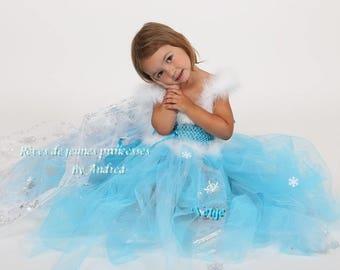 Robe tutu, robe de princesse des neiges turquoise avec la traîne