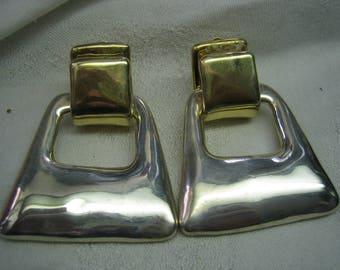 Vintage Huge Varsano Modernist Gold & Sterling Silver 925 Clip Earrings