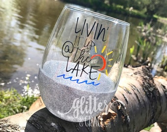 Livin' it up at the Lake // Glitter Dipped Stemless Wine Glass