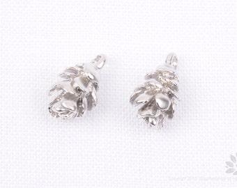 P688-MR// Matt Rhodium Plated Pine Cone Pendant, 2 pcs
