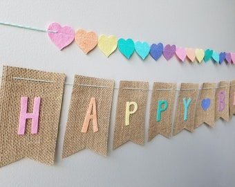 Happy Birthday Banner on Burlap with Pastel Rainbow Felt Letters with Baker's Twine