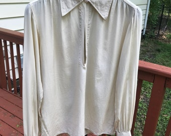 RARE Authentic Vintage YSL pointed collar biege silk pleated poet sleeve blouse