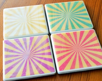 Vintage Coasters Cute Coasters Tile Coasters Gifts for Her Gifts Under 30 Hippie Decor Hippie Gifts