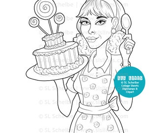 cake baker digistamp, digital stamp vintage SAHM bakes a cake, kitchen and baking coloring page, food lineart