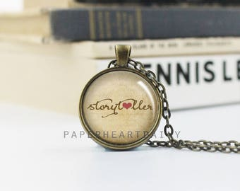 Storyteller - Writer Necklace - Author Gift - Writer Charm - Book Jewelry - Jewelry for Writers -  (B3390)