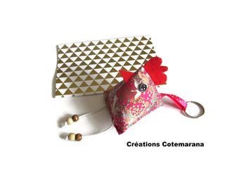 Key ring berlingot hen Japanese fabric with ring