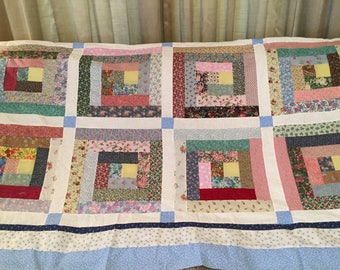 Scrappy Log Quilt top, backing border 82 x 104