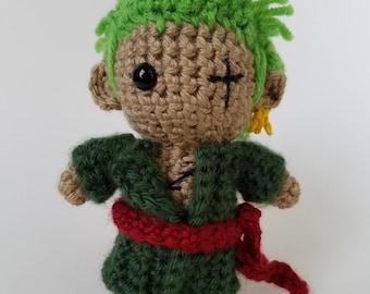 """Amigurumi Zoro-inspired 6"""" crochet doll"""