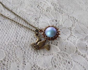 Beaded Blue Pearl Charm and Bronze Peace Dove Collaboration Charm Necklace