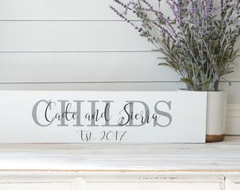 Custom Family Name Sign with Established Date Primitive Wooden Sign Wedding Signage Bridal Shower Gift Personalized Gift For Her Farmhouse
