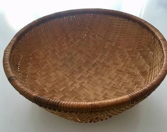Vintage Hand Woven Bamboo Winnowing Basket
