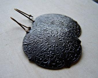 bronze niobium kidney wire decorative vintage style brass art medallion hypo allergenic earrings - limited