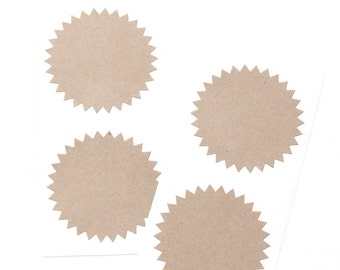 Starburst Stickers (20) Kraft Sticker Labels for Gift Wrapping, Packaging,