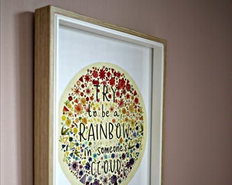 "Try to be a Rainbow in Someone's Cloud CHARITY Maya Angelou Quote Art Print 8x10"" #helpameliamartin"