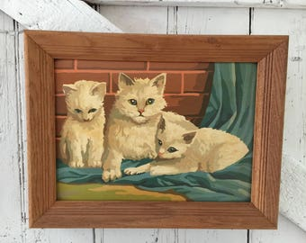 Cat Paint by number Mother Cat with Kittens paint by numbers vintage oil painting in wooden frame