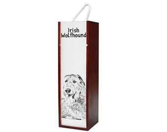 Irish Wolfhound - Wine box with an image of a dog.