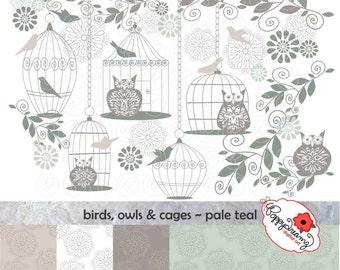Birds Owls & Cages Pale Teal Paper and Elements SET: Digital Scrapbook Paper Pack (300 dpi) Wedding Baby Shower Floral Teal Grey Gray