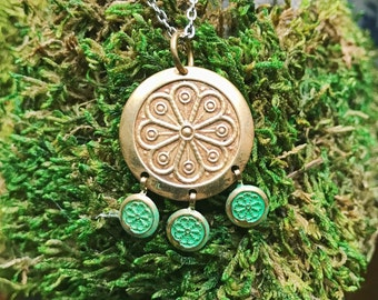 NEW Hand Stamped Brass Finish Bohemian Indian Mandala Necklace Pendant in Aqua Verdigris on 18inch Stainless Chain Boho Floral Charms