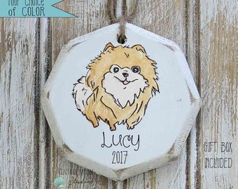 personalized brown Pomeranian  ornament, dog ornament, pet ornament, pet loss, pet memorial, gift for dog, Christmas ornament