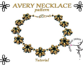 AVERY Necklace pattern with GEMDUO and Pinch beads, DIY tutorial