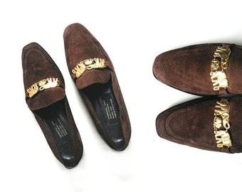 80s MONACO loafers BOHO chic loafers BOHEMIAN loafers suede loafers preppy loafers prep loafers // Size 6.5 us / 4 uk / 37 eu