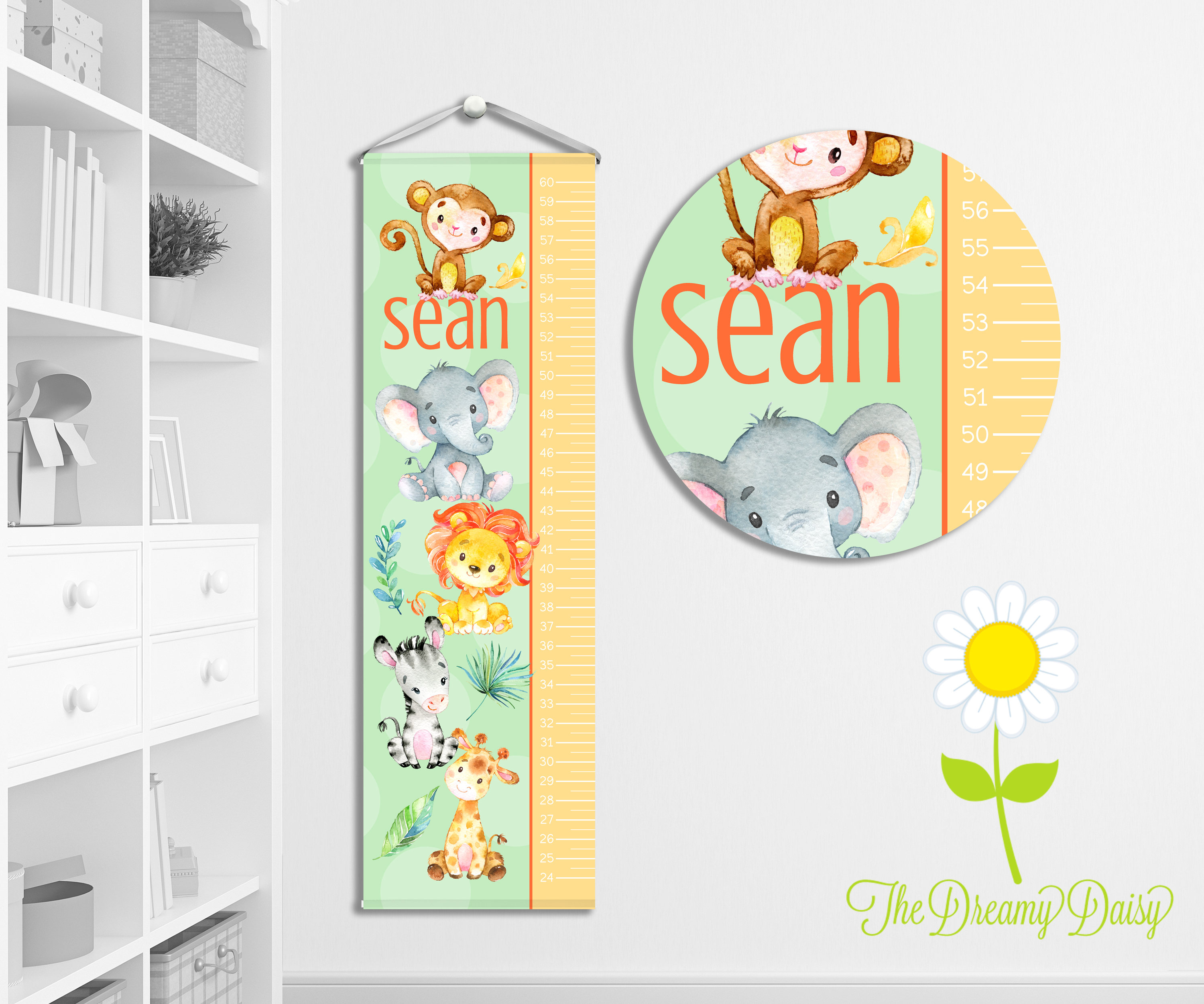 Personalized safari animal growth chart for kids custom zoom nvjuhfo Image collections