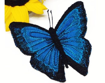 Butterfly Broach, Blue, Morpho, fibre art, brooch, silk, butterfly, insect brooch, entomology gift, nature lover gift, (1)