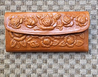 Tooled Leather Wallet ,Roses,Rose wallet,tooled leather,roses,caramel brown,brown leather wallet