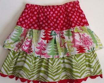 SALE  Girl's Christmas Ruffled Skirt