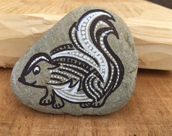 Hand Painted River Stone Skunk