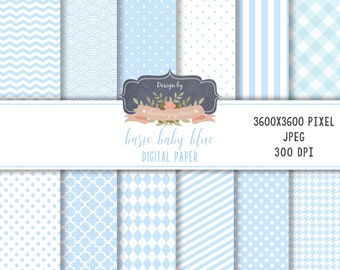 SALE Baby BLUE Digital Paper, Chevrons, Stripes, Polka Dots, Instant Download, Scrapbooking Paper Pack