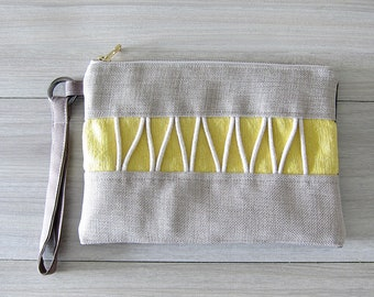 Beige and Yellow Boho Wristlet With Removable Strap