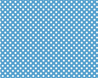 Riley Blake - Small White Dots - Small Dot Medium Blue by Riley Blake Designs
