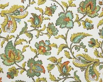 Retro Wallpaper by the Yard 70s Vintage Wallpaper – 1970s Aqua Green Chartreuse and Orange Floral Chintz