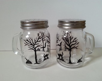 Hand Painted Glass Shakers,Halloween