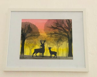 A4 Watercolour deer painting