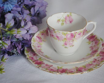 Royal Doulton Pink Roses Trio Cup and Saucer and plate E4882 1900 -1920