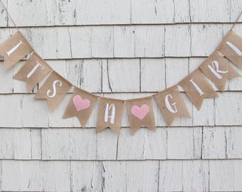 Its A Girl Banner, Baby Girl Shower Decorations, Its A Girl Bunting, Baby Girl Burlap Banner, Baby Bunting, Pink Baby Shower Decorations