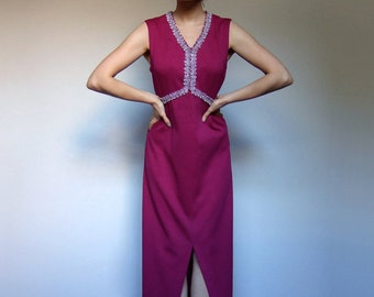 70s Fuchsia Maxi Dress Vintage Metallic Silver Long Sleeveless Party Dress - Large L