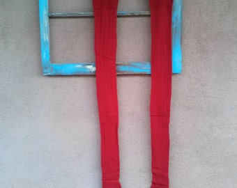 Vintage 1940s Stockings Tights Thigh High 40s Garter Stockings Red NWOT