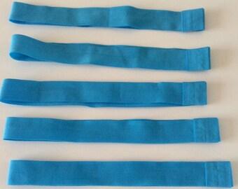 set of 5 elastic headband stretch turquoise 20mm