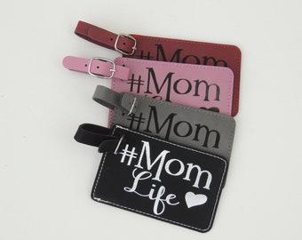 Mom Life Luggage Tag, Leather Bag Tag