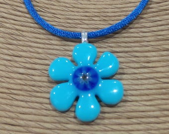 Blue Flower Necklace, Gift for Daughter, Blue Flower Pendant, Fused Glass Necklace, Flower Jewelry - Blueberry Hill - 3388-2